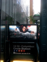 Superman 0366 (Brechtbug) Tags: street new york city nyc blue red man work dark comics painting movie poster square book dc paint theater comic near steel character alien bat working broadway s superman billboard advertisement adventure hero superhero billboards knight worker shield times insignia krypton 46th 2013