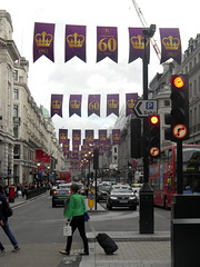 Celebrating queens 60 years coronation banners purple gold Regent Street London England 15th June 2013 republic 15-06-2013 17-44-50 (dennoir) Tags: