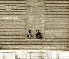 And that's old news (_EdG_) Tags: girls people italy church sepia italia cathedral smoking padova padua