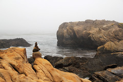 Sign to the Sea (dennoit) Tags: ocean california mist tree rock fog coast monterey day shore pointlobos cairn pointlobosstatereserve