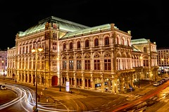 Vienna Opera & Lights (Lus Henrique Boucault) Tags: vienna travel bridge blue sunset vacation castle skyline night canon lights austria opera colorful europe long exposure purple unesco clear alpine 40mm baroque spiegelung 6d festung danubio hohensalzburg osterreich