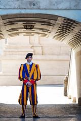 Swiss Guard (BrianEden) Tags: city italy vatican stpeters rome standing army colorful uniform italia fuji swiss basilica guard fujifilm troop lazio beltbuckle swissguard vaticancity xpro1