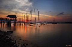 Changi Boardwalk sunset (Ken Goh 1.5M views) Tags: bridge blue sunset sky sun reflection beach water landscape golden long exposure pentax sigma boardwalk changi 1020 wterscape mygearandme mygearandmepremium mygearandmebronze mygearandmesilver mygearandmegold mygearandmeplatinum mygearandmediamond k5iis