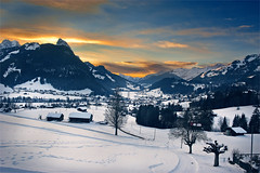 HaPPy Birthday My Switzerland  ; Sunset on Gstaad , A view from the train. No.2013:01:26 18:09:51 . (Izakigur) Tags: bern izakigur nikon switzerland birthday gstaad flickr suisse europe feel fixyou topf25 topf300 100faves