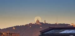 Super Moon ! (elgunto) Tags: super moon supermoon tibidabo barcelona sky nocloud moonset colors sonya7 canonfd135 teleconverter manuallense landscape morning