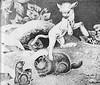 Betsy meets woodchucks (katinthecupboard) Tags: vintagechildrensillustrations vintageanimalillustrations 1936 dorothyplathrop lathropdorothy lamb nature monotone woodchuck
