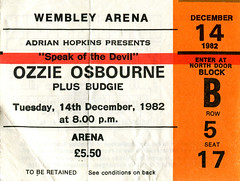 Ozzy 14.12.82 (1978-1987) Tags: concerttickets ozzyosbourne blacksabbath budgie heavymetal