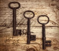 oldkeys (barksworld) Tags: keys ancient antique wood knots still life rust