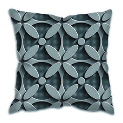 Decorative Cushion Pillow Cases (CushionPillow) Tags: pattern wrapping surface wallpaper perforated chrome tile print layout ornament lattice vector tech shadow graphic element black gray fashion fabric technology shape repeat hole abstract elegant modern geometric decorative futuristic texture metallic design psychedelic mosaic grid art stripe style background seamless structure textile metal eps10 3d oriental arabic indian floral