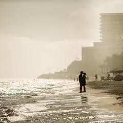 Mediterranean Love (Bhalalhaika) Tags: kiss mediterraneansea spain beach ocean marbella malaga fog