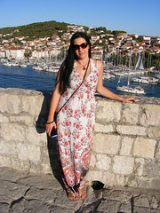 Nina at Kamerlengo Fortress in Trogir. Croatia Summer 2016 (seanfderry-studenna) Tags: nina kamerlengo castle fort fortress trogir croatia hrvatska serb stone woman female girl lady girlfriend fiancee wife married beauty gorgeous stunning beautiful white dress summer august 2016 holiday vacation long dark hair brunette handbag face shoulders arms tan tanned sun sunshine hot shade shadows legs feet sandals sunglasses tourist exploring old fortification history happy smile smiling pose candid