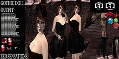 Gothic doll outfit (Zed Sensations) Tags: evemesh fitmesh halloween vampiric gothic underworld lace ballet pointy toe boots heels shoes costume outfit hat burlesque fitted mesh steampunk gloves dress fantasy roleplay zed sensations eve pulpy slim slink hourglass physique belleza isis freya