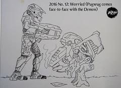 Inktober 2016 12 Worried (Todd H. C. Fischer) Tags: inktober inktober2016 penandink illustration scifi sciencefiction halo grunt spartan masterchief unggoy