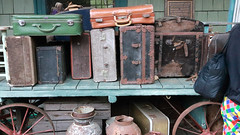 5658-Old luggage display at the Phoenicia Train Station (Gail Frederick) Tags: fallfoliage catskillmountains newyorkstate catskillmountainrailroad luggage