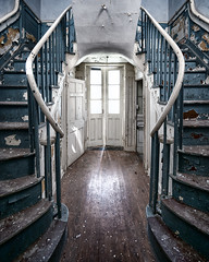 asylum (Jamie Betts Photo) Tags: abandoned abandonment abandonedbuilding architecture abandonedplaces asylum mentalinstitution explore exploration exploring stairs staircase stairwell spiralstaircase tones symmetry symmetrical urbanexploration urbex urbandecay urbexing urbanexploring