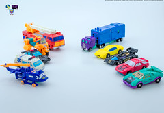 G2_Protectobots_v_Stunticons_veh (Weirdwolf1975) Tags: tfylp transformers podcast megatoyfan g2 generation2 defensor protectobots streetwise firstaid blades groove hotspot stunticons menasor motormaster deadend wildrider breakdown dragstrip unreleased