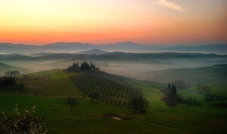 The Val D'Orcia at sunrise