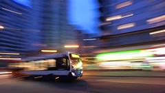 stagecoach hyper-bus (amazingstoker) Tags: night londis icm pan panning blur motion lights bus crown alencon heights link alenon stagecoach dynamism dynamic transport basingstoke hampshire eastrop urban speed neon strip public