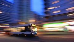 stagecoach hyper-bus (amazingstoker) Tags: night londis icm pan panning blur motion lights bus crown alencon heights link alençon stagecoach dynamism dynamic transport basingstoke hampshire eastrop urban speed neon strip public