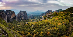 Meteora (adrianchandler.com) Tags: wideangle canon5dsr landscape monestries outdoor panorama monestry rocks trees atop medditeranean forest flowersplants europe adrianchandler greece autumn mountan exterior valley mountain hill