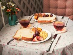 Weekend's comfortable breakfast (Picocoon) Tags: weekend morning breakfast food table healthy health toast fruit black tea bacon egg tableware leisure comfortable home warm