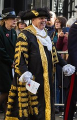 George Metcalfe, Lord Mayor of Canterbury, Remembrance Sunday, 13 Nov 2016 (chrisjohnbeckett) Tags: georgemetcalfe lordmayor canterbury mayor ceremonial robe yellow black walking street urban portrait smile canonef135mmf2lusm chrisbeckett remembrancesunday canterburycathedral photojournalism