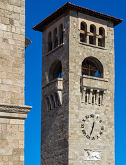 Church Bell & Clock Tower ( Rhodes Town Harbour) Greece (Olympus OM-D EM5) (markdbaynham) Tags: rhodes rhodos dodecanese greece greek hellas hellenic grecia greka pefkos olympus omd em5 csc mirrorless evil mft m43 micro43 m43rd panasonic g lumix 35100mm f28 zoom