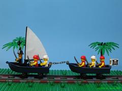 Rail Pirate Boats (dr_spock_888) Tags: lego moc pirates boats cutlasses sail trains swords