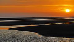 baie du mont saint michel. (CLAUDE ROUGERIE) Tags: sunset beach water sky red blue night light sun clouds landscape sea city news baie mont saint michel claude rougerie