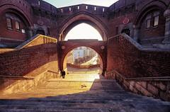 Krnan castle entrance in Helsingborg, Sweden (` Toshio ') Tags: toshio krnan helingborg sweden swedish danish castle entrance sunset sunlight europe european europeanunion fujixe2 xe2 medieval stairs woman walking city wall