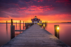 Outer Banks North Carolina OBX Lighthouse Manteo NC (Dave Allen Photography) Tags: northcarolina outerbanks obx nc manteo lighthouse seascape coastal pier dock light sunrise boardwalk architecture sunset outdoors travel water longexposure roanokeisland beacon lostcolony bay shallowbag roanoke waterfront screwpile serene peaceful dawn morning coast