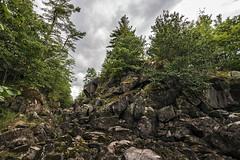 Rubble (Matt Molloy) Tags: mattmolloy photography evergreen trees granite rocks cracks rubble sky clouds burnthills frontenaccounty ontario canada landscape lovelife