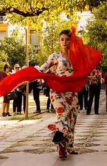 Bailando en la calle (Lou Rouge) Tags: sevilla dancing artist flamenca flamenco alcazar woman abanico mantn trajedeflamenca pblico performing artista red streetphotography street spain andalucia streetphoto fotodecalle baile bailar