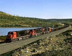 Rob QC Monday September 16th 1996 1615EDT (Hoopy2342) Tags: train railroad railway rail cartiermining quebeccartierrailway quebec qc mountwright fermont mlwc630 cotenord