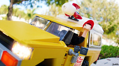 Pizza Ostrich delivery (chrisofpie) Tags: chris yellow truck pie outdoors funny lego lol fast ostrich pizza legos planet delivery rocket