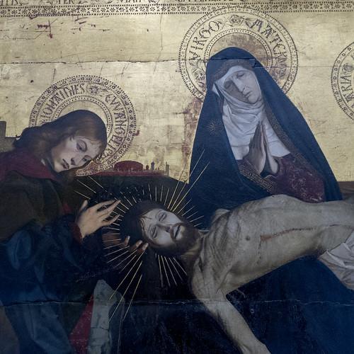 """Enguerrand Quarton (connu en Provence de 1444 à 1466), """"La Pietà de Villeneuve-lès-Avignon"""", dét., vers 1455. Musée du Louvre (Paris, France)"""