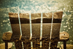 Double exposures on the beach! (Kathleen Waters Photography) Tags: wood sun beach clouds relax chair bokeh doubleexposure seat multipleexposures