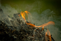 DSC02379 (Simply Angle) Tags: slash macro leaves closeup fire smoke sony mount burning flame pile om leafs 80200mm 145 kitstar nex3