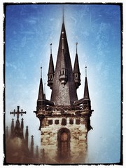 Prague Tower #3 (CJPolitzki) Tags: vintage flickr prague grunge iphone ipodtouch snapseed