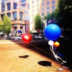 Balloons (elenaclic) Tags: street city portrait urban self square bathroom heart lofi squareformat iphone vancouvercanada iphoneography instagramapp uploaded:by=instagram balloonscolours foursquare:venue=4f3ae417e4b036beb80c40c8