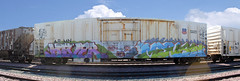 Hiver Mense (The Braindead) Tags: panorama art minnesota train bench photography graffiti interesting flickr painted hiver ant tracks minneapolis twin rail explore most beyond reefer hs stich the braindead cites armn fls mense flickrs benched thebraindead