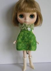 Edie models the Caterpillar Dress and Lettuce Fluffle