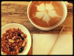 Coffee and Granola (Buffy Ghurl) Tags: coffee healthy slice snack granola uploaded:by=flickrmobile flickriosapp:filter=salamander salamanderfilter