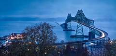 Astoria Bridge (Laura A Knauth) Tags: morning bridge blue light mist laura nature car rain fog clouds oregon river landscape photography lights early washington dock trails wideangle columbia astoria astoriabridge knauth lauraknauth