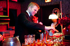 "Leo Robitschek of Eleven Madison Park & The Nomad pouring his drink ""Bolshoi"" (thewanderingeater) Tags: nyc chelsea manhattan campari manhattancocktailclassic gallowgreen themckittrickhotel camparibartendersbash"