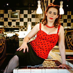 Diner Diva () Tags: justin red usa girl smile female america cat vintage lights photo washington cafe cool model state image united picture kitty style diner scene retro photograph rockabilly tacoma states lipstick dame pinup checker greaser alfredscafe voronaphotography sammiemarie