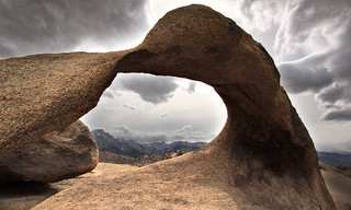 The sun breaks through on Mobius arch