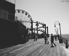 Santa Monica Pier - Santa Monica, CA (JayCass84) Tags: california camera summer blackandwhite bw west beautiful wheel pier blackwhite flickr ride santamonica awesome explore rollercoaster westside santamonicapier coaster westcoast themepark instagram instagramapp vscocam vscocamapp