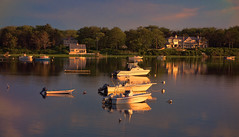 Mansion on Pond (YT Blue) Tags: sunset reflection boats pond chatham mooring