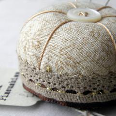 Coffee cream Desk Pincushion (Wychbury Designs) Tags: thread vintage miniature bottle pin handmade lace sewing craft pins fabric cap button pincushion etsy needles cushion stitched folksy wychbury